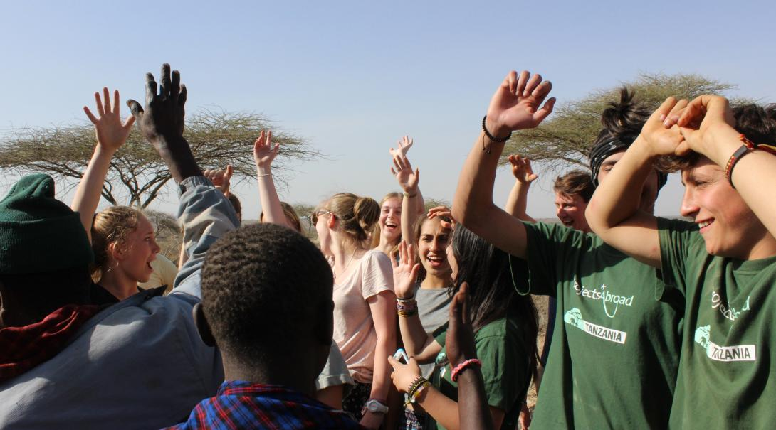 Projects Abroad volunteers meet up with a local community in Tanzania during their time abroad.